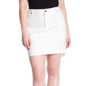 Melrose & Market Frayed Hem Denim Skirt